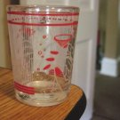 Clear Shot Glass with Red and White Decorations and Toasts    #300958