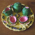 Miniature Melon Tea Set Tray, Teapot, Creamer, Sugar Bowl, Cups and Saucers #300972