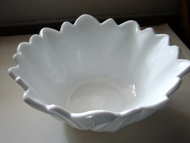 Beautiful Milk White Flower Bowl Fluted Edges at Periwinkles #300978