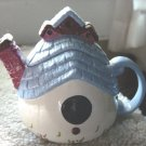 Small Blue White Country City Birdhouse Teapot #301015