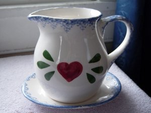 White Porcelain Red Heart Country Pitcher and Saucer #301018
