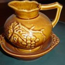 Golden Grape Pitcher and Saucer Made in Japan  #301020