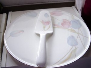 Mikasa Bone China Swiss Gardens Cake Plate and Server  #301031