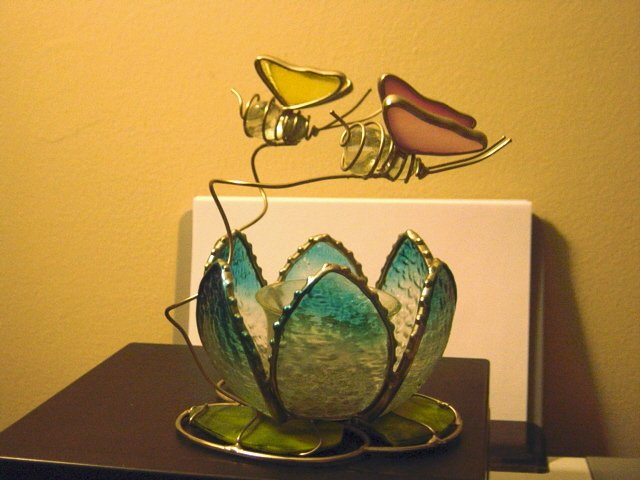Stained Glass Lotus Blossom and Butterflies Votive Candleholder  #301149