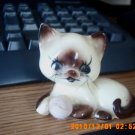 Vintage White and Brown Kitty Cat with Yarn Ball Figurine #301521