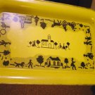 "Painted Metal 14"" Nesco Tray Canary Yellow with Old Tyme Village Design #301174"