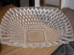 Vintage Square Candy Dish Clear Tear Drop Bubble Glass #301215