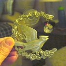 Pewter Cardinal on Flowering Branch Crystal Window Sun Catcher  #301219