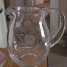 Hand Blown Flower Etched Glass Drink Pitcher #301233