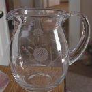 Hand Blown Flower Etched Glass Drink Pitcher #301233