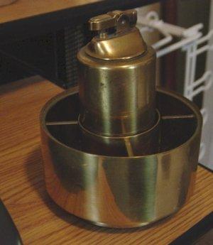 Vintage CMC Brass Revolving Table Lighter and Cigarette Holder #301246