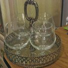 Four 1960's Clear Glass Cordial Pedestal Glasses with Silver Metal Tray  #301411