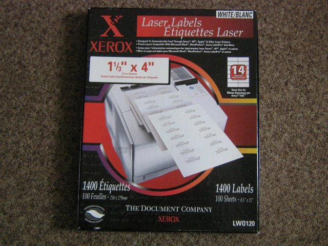 "Box 100 Sheets 1 1/3"" x 4"" LWO120 Xerox Etiquetas Laser Labels  #301437"