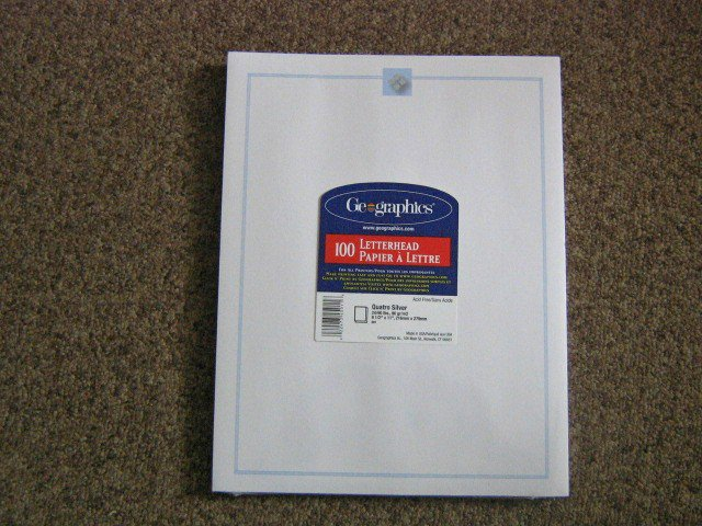 100 Sheets Quanto Silver Stationery Any Occasion Letterhead Paper #301442