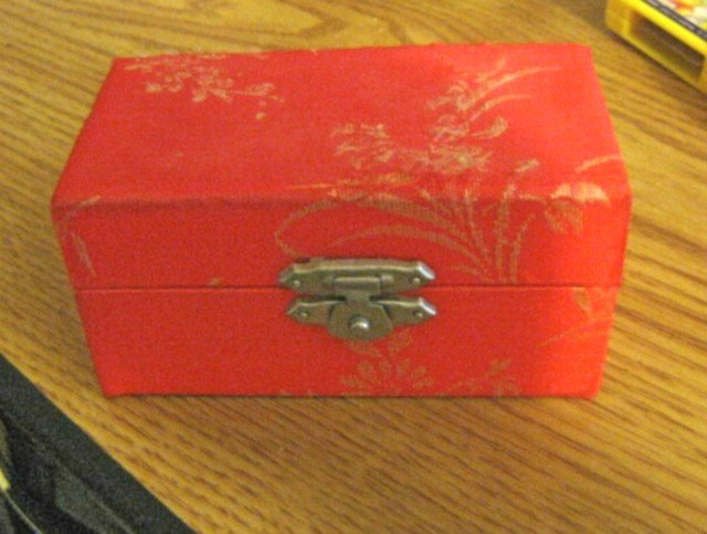 Asian Chinese Stress Relief Exercise Silver Metal Balls in Red Satin Box #301443