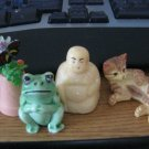 Four Small Shadowbox Figurines Buddha, Frog, Flower Pot with Butterfly and Cat  #301451