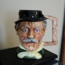 Large 32 Oz Artmark Ceramic Head Vase Mug Man Blue Eyes Mustache Black Hat   #301510