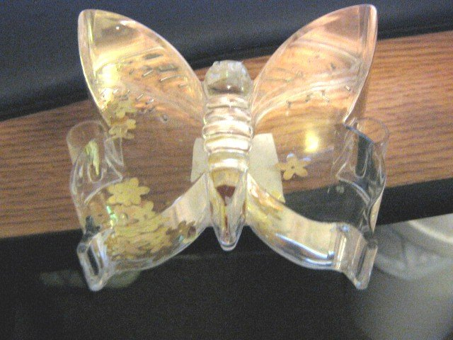 Clear Lucite Butterfly Paperweight Oil and Flowers Filled   #301525