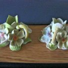 Two Small and Delicate Floral Ceramic Candleholder Made in Mexico  #301543