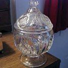 Beautiful Pressed Glass Pedestal Bowl with Lid   #301553