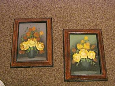 """Two 5 1/2"""" x 8"""" Framed Vintage Yellow Roses Floral Paintings Unsigned #301558"""