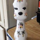Vintage Irice Flower Covered Dog Candleholder Figurine #301590