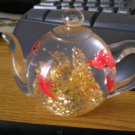Dynasty Gallery Heirloom Collectibles Fish Tank Teapot Shaped Glass Paperweight  #301608