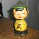 Hand Decorated 1950'S Composition Japanese Asian Coolie Girl Bobblehead Figurine #301617
