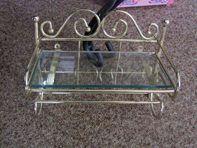 Small Brass and Glass Wall Shelf #301620