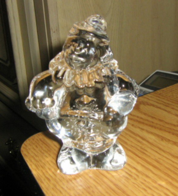 "4"" Solid Clear Glass Clown with Bubbles Paperweight #301613"