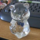 Fenton Clear Glass Bear Figurine Blue March Birthstone Heart #301614
