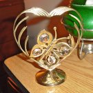 Golden Butterfly with Crystals in Heart Free Standing Brass Figurine #301635