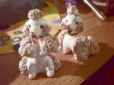 Vintage Pink Poodle Spaghetti Dog Figurines  #301642