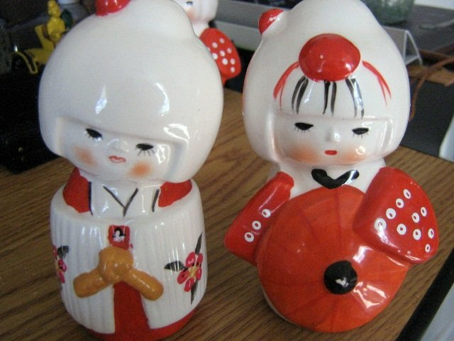 Two Vintage Little Asian Girl Porcelain Figurines #301667