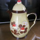 Beautiful Vintage Gold and Brown Chocolate Pot Teapot with Strawberries #301668