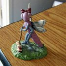 "2 1/2"" Tall Metal Lady Dragonfly Playing Croquet Figurine #301673"