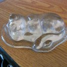 Clear Glass Sleeping Cat Paperweight Figurine  #301677