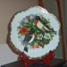"7"" Collector's Plate Red Throated Birds Flowers Gold Trim #301681"