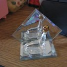 Glass Miniature Seal Figurine Balancing a Gold Ball  #301707