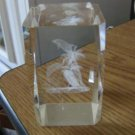 3-D Laser Etched Dolphin, Pelican and Palm Trees Cube and Black Stand #301725