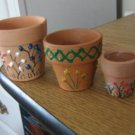 Three Small Terra Cotta Decorated Planter Pots #301726