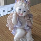 1997 Small Angel Painted in Pastel Colors Sitting on a Cloud Holding Harp  #301742