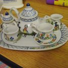 Blue and White Miniature Dutch Tea Set Tray, Teapot, Creamer, Sugar Bowl, Cups and Saucer #301754