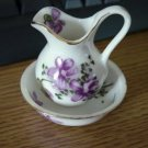 Ardco Fine Quality Mini Violet Pitcher & Bowl Set Mint #301755