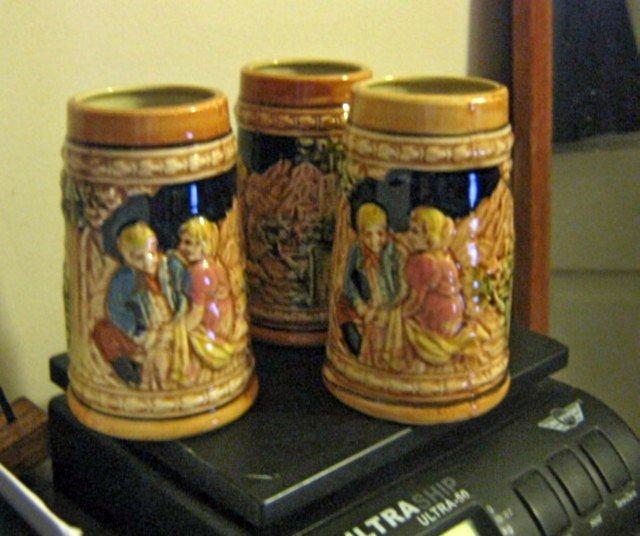 Three Ceramic German Style Steins No Lids #301783