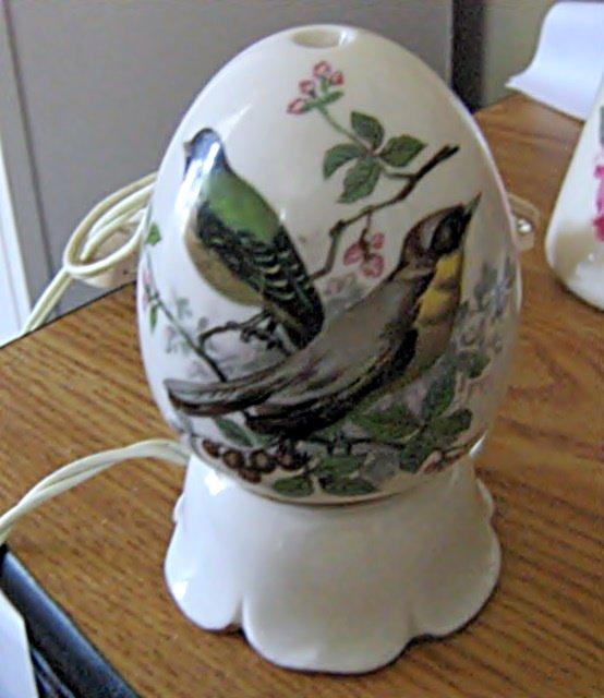 Vintage I W Rice Egg Shape with Hand Painted Birds Porcelain Night Light Rare #301796