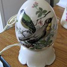 Vintage I W Rice Egg Shape with Hand Painted Birds Porcelain Night Light Rare #301796