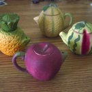 Four Miniature Fruit Teapots Apple, Pineapple, Melons #301941
