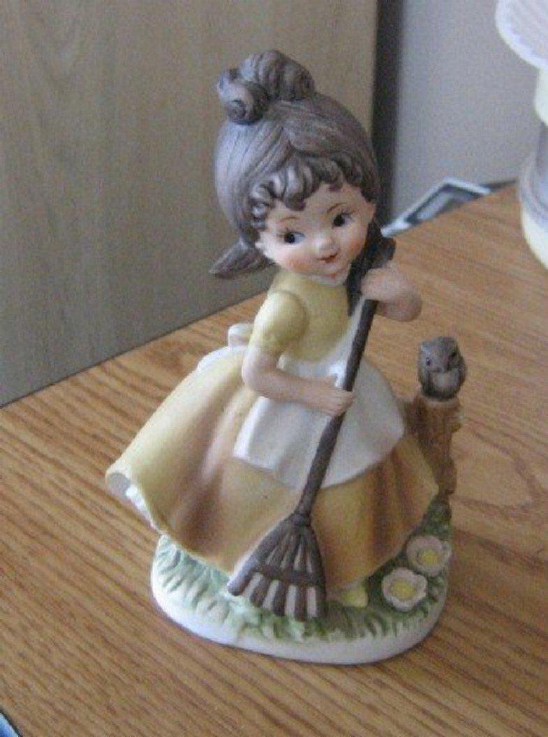 C-8611 Napco Ceramic Figurine Girl Raking with Owl  #301671
