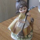C-8611 Napco Ceramic Figurine Girl Raking with Owl  #301671